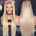 Blonde silky straight lace front wig Brazilian human hair Glueless lace wig #613 Blonde Virgin Human Hair straight full lace wig