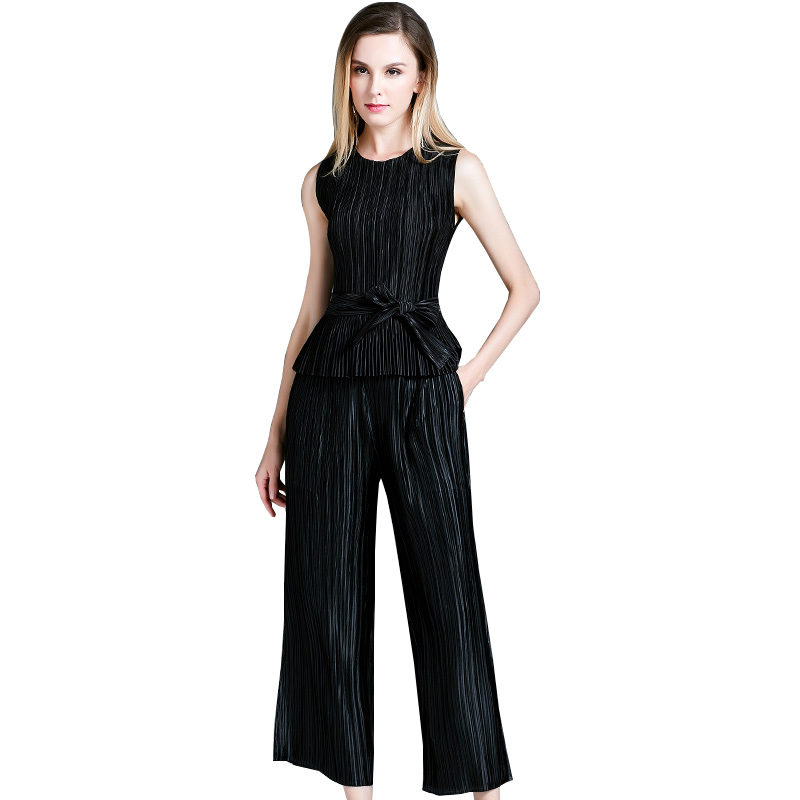 summer new women's Europe and America large size self-cultivation temperament ladies two-piece fashion suit pants women