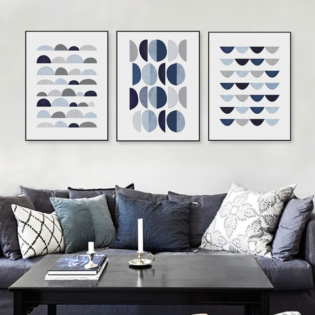 Modern Abstract Geometric Shape A4 Art Print Poster Blue Wall Picture Nordic Living Room Home Deco Canvas Painting No Frame