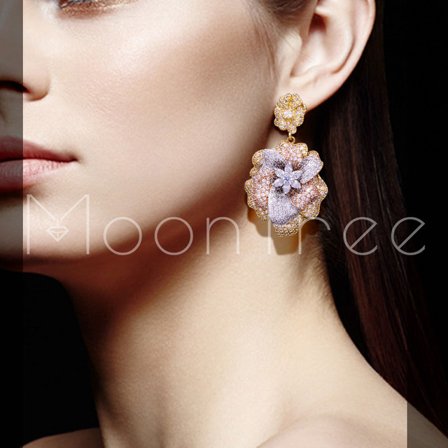 Mootree 48mm Elegant Flower Wheel Full Micro Paved Cubic Zircon Women Wedding Paty Drop Earring Fashion Jewelty