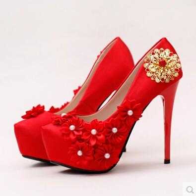 ФОТО Red lace flowers fine with the bride shoes TG668 high with waterproof pearl wedding shoes satin dress banquet shoes
