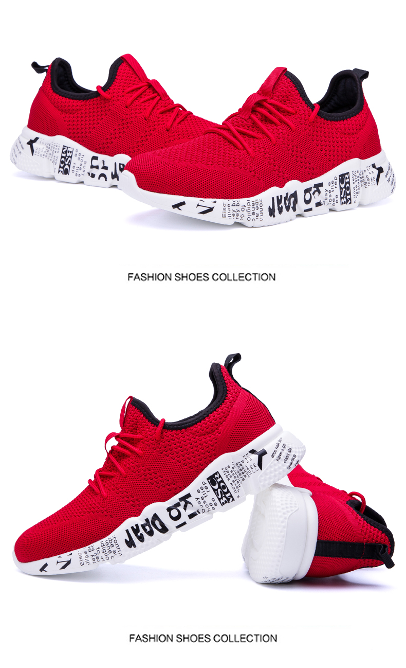 Explosion promotion in 2019, low price one day snapped up,Sneakers Men Trendy Shoes Male breathable red 44 12