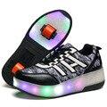 Mamimore crianças sneakers luminosas roller shoes 1/2 rodas roller skate shoes new arrival crianças sports shoes para meninos das meninas