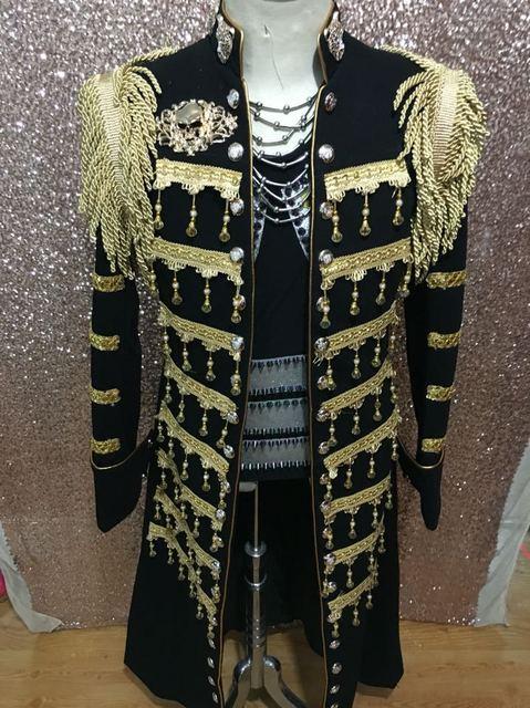 41ab4e5fd632 Sequin Palace Blazer Long Jacket Costume Men Plus Size Male Singer DS Dance  Epaulet Prom Stage