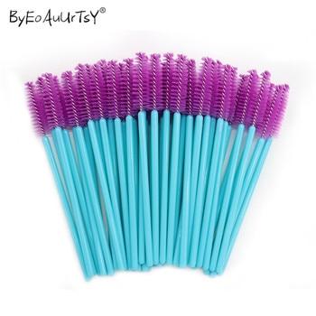 1/50Pcs Disposable Nylon Mascara Wands Blue Golden Blue Handle Brushes Lashes Makeup Brushes Eyelash Extension Tools