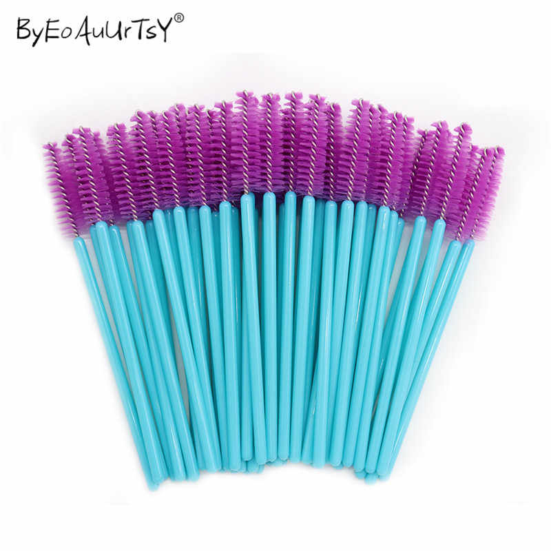 1/50Pcs Disposable Nylon Mascara Wands Blue Golden Blue Handle Brushes Lashes Makeup Brushes Eyelash Extension Tools