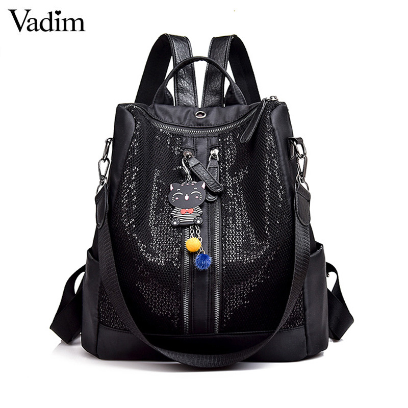Vadim Fashion Women Backpacks Shinning Oxford Women Backpack School Bags For Girls Bookbag Female Multifunction Bagpack Mochila