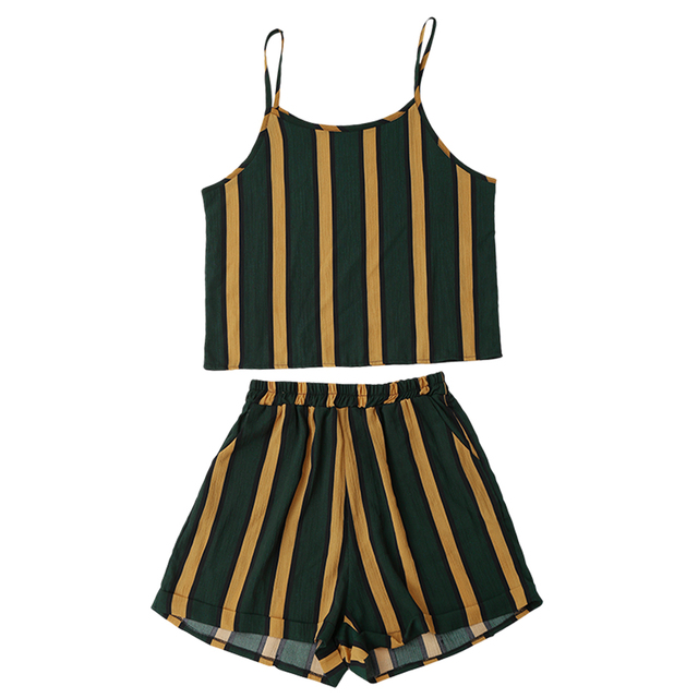 Kenancy Women Suits Black And Yellow Striped Cami Tops With Hot