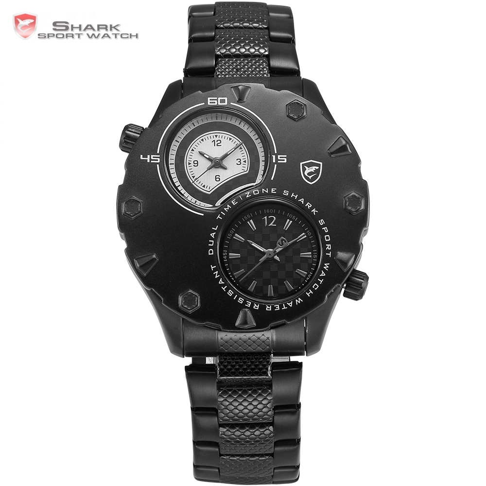 Luxury Shark Sport Watch Men Dual Time Zone Two White Dials Black Full Steel Clock Business Relogio Male Digital Watch / SH297 ultra luxury 2 3 5 modes german motor watch winder white color wooden black pu leater inside automatic watch winder