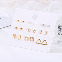 Free Shipping Girl Women's 9pairs/set Classic Geometric Stud Earrings Sets Boho Gold Round Square Bad Triangle Stud Earring Sets недорого