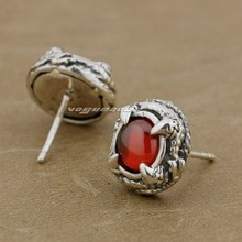 925 Sterling Silver Round Claw Red CZ Stone Biker Stud Earring 8R023(1 Pair)
