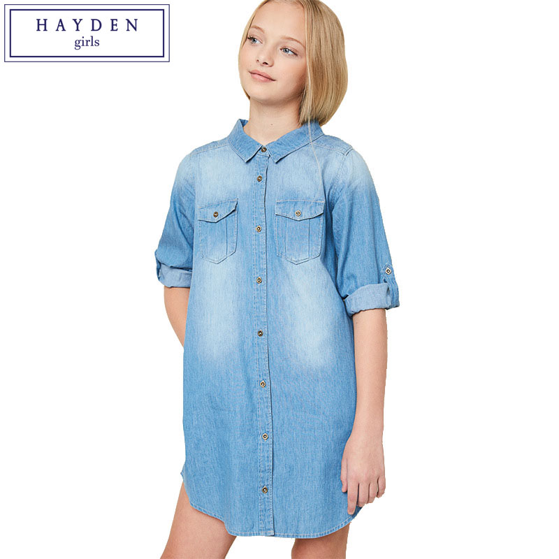 купить HAYDEN Girls Denim Dress Long Sleeve Size 8 12 Spring 2017 Dresses Girls Denim Shirt Dress Teenage Girls Clothing 14 Years по цене 1546.94 рублей