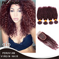 Burgundy peruvian hair 4 bundles 99j peruvian curly virgin human hair weave red virgin peruvian curly hair with 4x4 Lace Closuer
