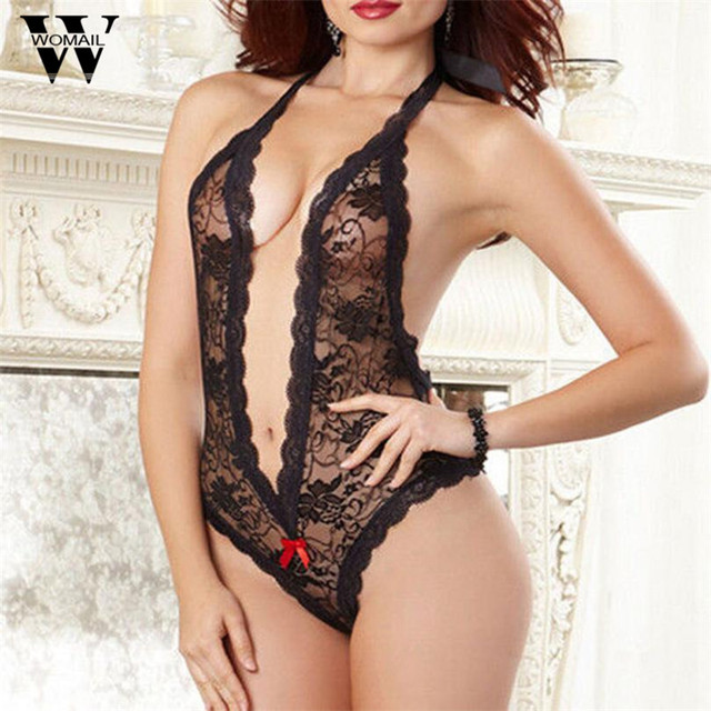 Women Lace Sexy Lingerie Red Black Hot Perspective Deep Babysuit Women Lenceria Erotic lingerie teddy Bow Sexy lingerie 45De212
