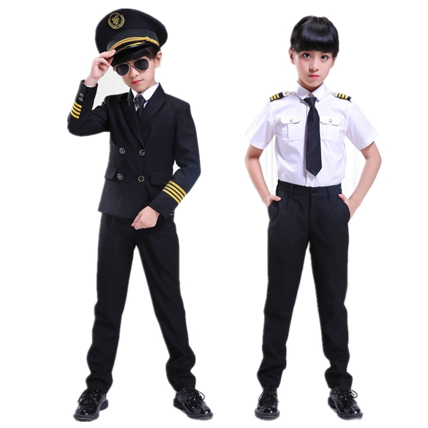 Kids Pilot Costumes Children Cosplay for Boys Girls Flight Attendant Costume Airplane Aircraft Air Force Performance Uniforms