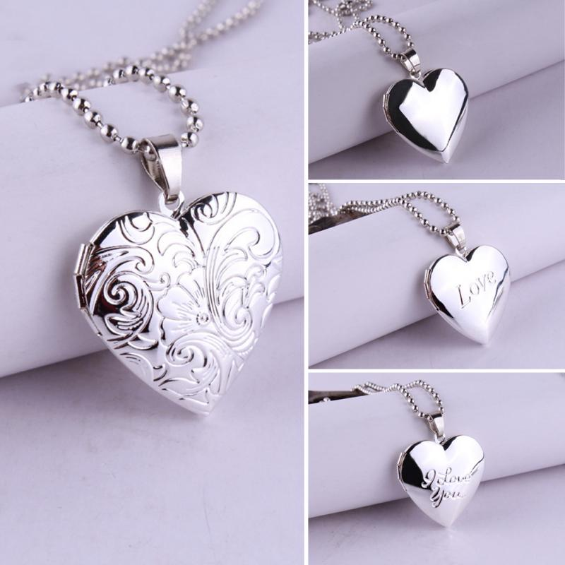 1PC Heart Shaped Friend Lovers Photo Picture Frame Women Valentine Lover Gift Can Open Locket Necklaces Heart Pendants