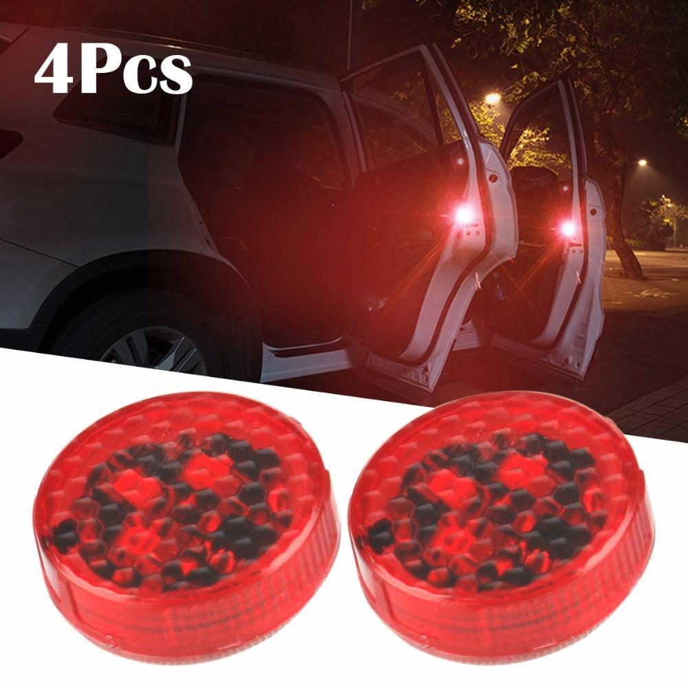 4PCS Car-Styling LED Light Anti Collision Car Door Light Strobe Light Rearing Warning Light StickerFor Audi Luxel Nissa Golf5