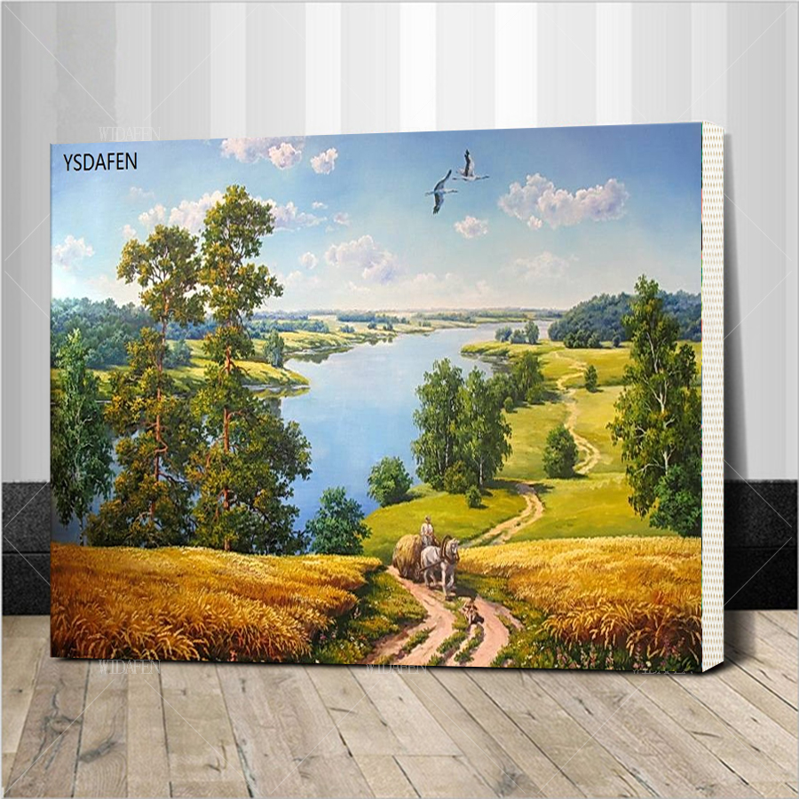 Assembling frame of golden wheat field Landscape DIY Painting By Numbers Wall Art Digital Canvas Oil Painting Home Decoration