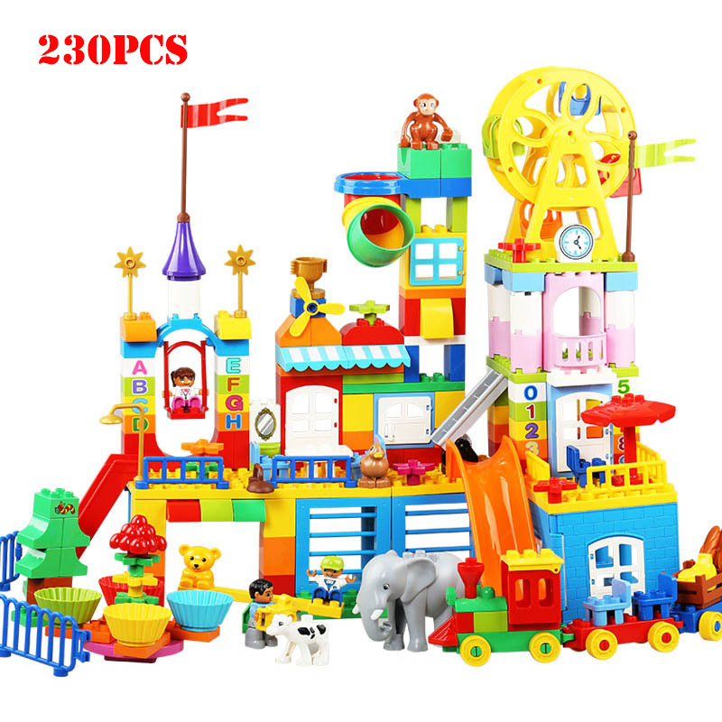 230PCS Large Playground Zoo Animals Figures Building Blocks Big Size Duploed DIY Creative Bricks Children Educational Toys Gifts