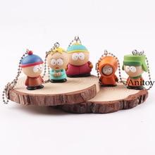 Anime South Park Cartoon Stan Kyle Eric Kenny Butters Mini PVC Action Figure Toys Pendants Keychains 5pcs/set 2-3cm KT4820