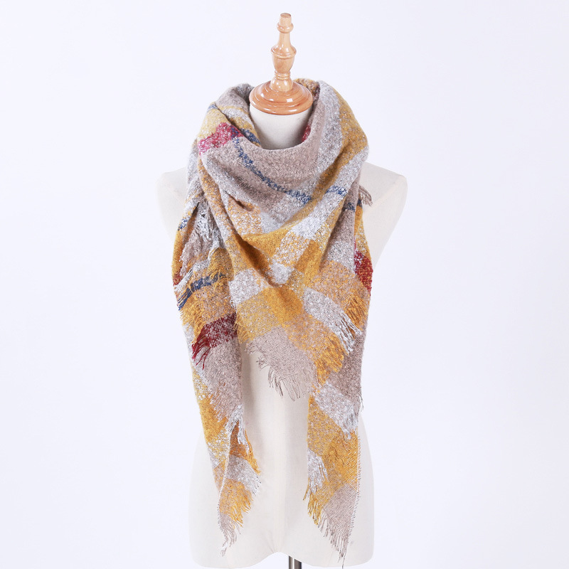 140*140cm oversize blanket Triangle Scarf for women female fashion plaid faux cashmere scarves and shawls Tassel Pashmina