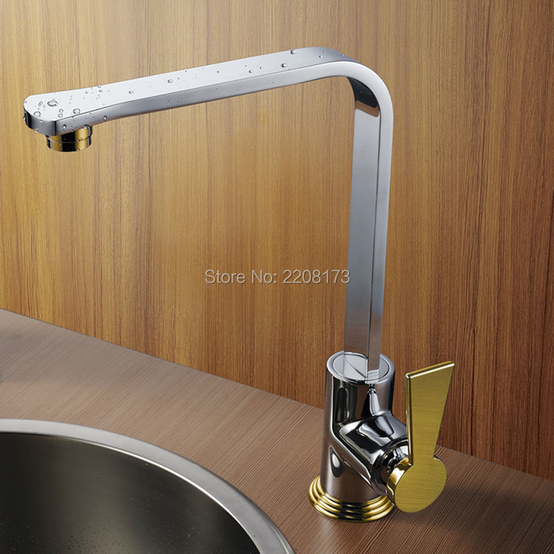High Quality 100% Brass Chrome And Gold Finish Kitchen Faucet Osmosis Silver Chrome Finish  Flow Sink Mixer