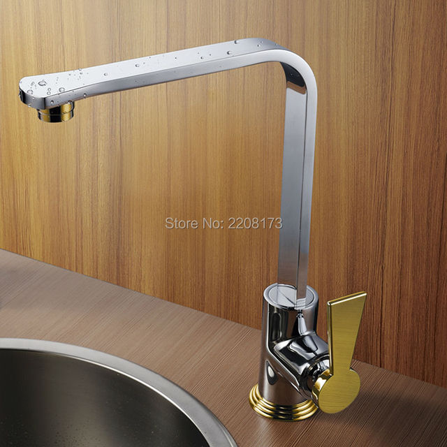 High Quality 100 Brass Chrome And Gold Finish Kitchen Faucet