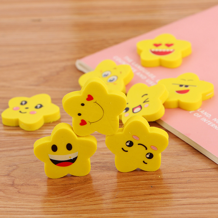 Kawaii Pencil Eraser 54pcs Cute I Love Smile Star Erasers Novelty Prizes Gift For Kids Stationery Supplies Funny School Items