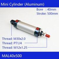 무료 배송 배럴 40mm Bore500mm 스트로크 MAL40x500 알루미늄 합금 미니 실린더 공압 공기 실린더 MAL40-500