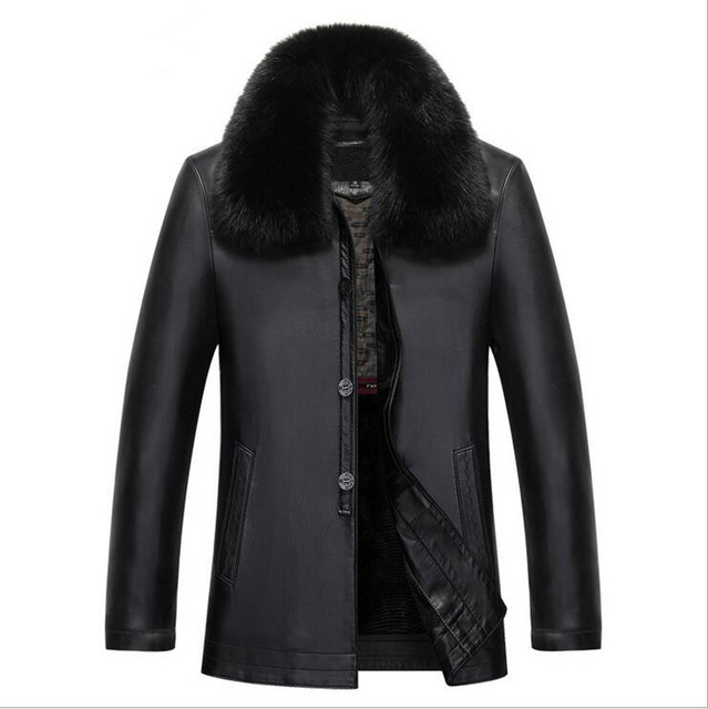 Rabbit Hair Man Sheep Leather Jacket High Quality Men's Warm Coat Middle-aged Man Dad Put Code To Keep Warm Fur Clothing