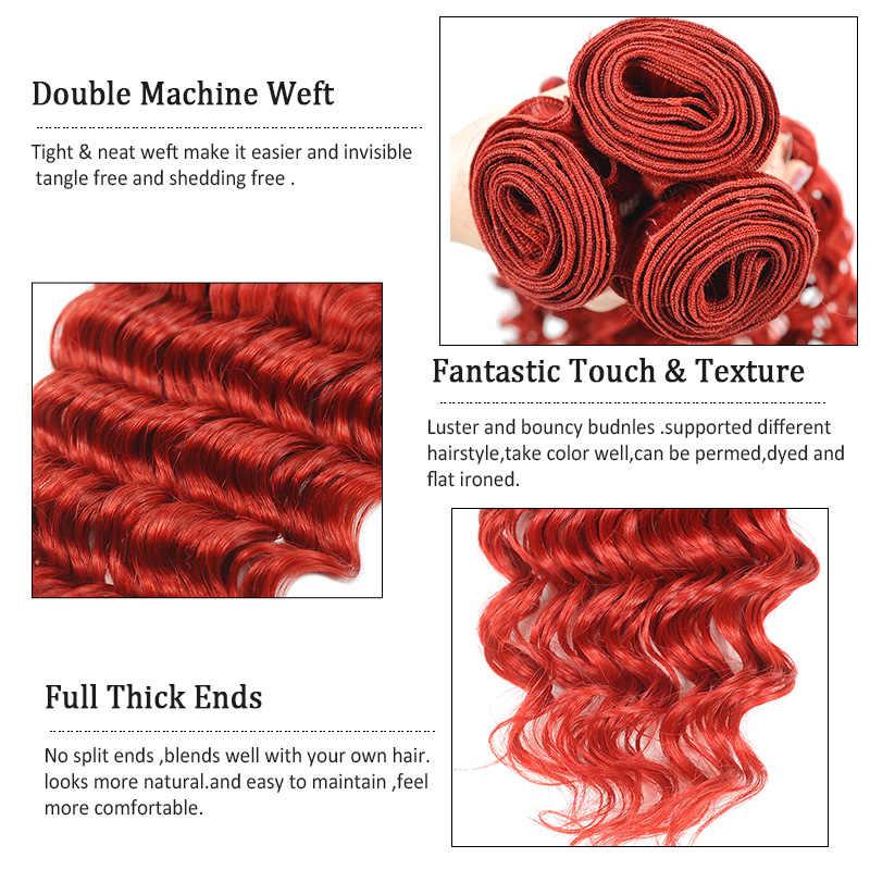 Ienvy 1 Bundle Gelombang Dalam Brasil Rambut Madu Pirang Bundel Merah Merah Marun Digunakan Berwarna 100% Rambut Manusia Bundel Rambut tidak Jahat