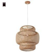 38/50 см Bamboo плетеная из ротанга тени подвесной светильник Nordic Сельский примитивные Азиатский Винтаж подвесной потолочный светильник для офи
