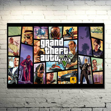 POPIGIST-Grand Theft Auto V Video Game GTA 5 Art Silk Fabric Poster Print 13×20 32×48 inches Wall Pictures For Living Room 027