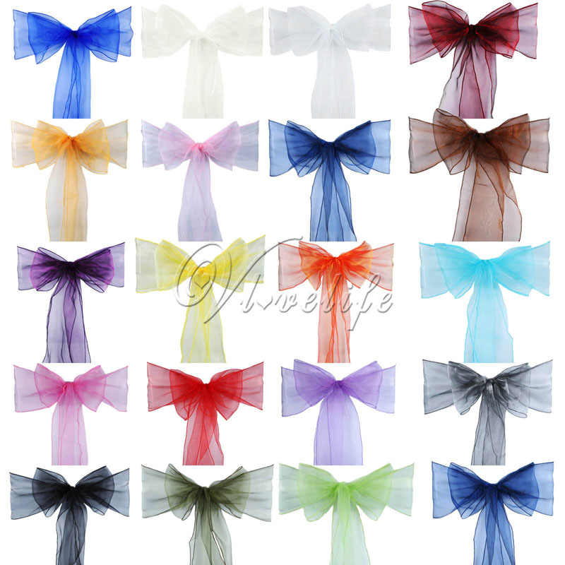 One Sheer Organza Chair Sash Bow For Cover Banquet Wedding Party Event Xmas Decoration Supply Free Shipping