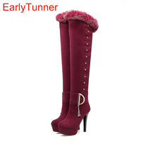 Brand New Quality Winter Black Red Women Thigh High Fur Platform Boots Lady Rivets Shoes Super