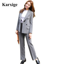 Real 2016 Korea Fashion Simple Korean Breasted Two Piece Slim Girl elegant fashion trends korean hot selling model women Suit