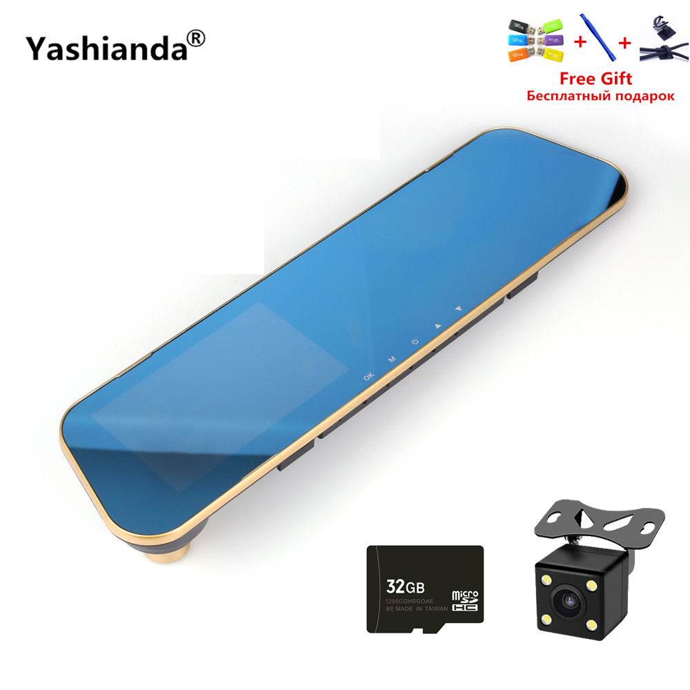 Yashianda 4.3 Inch Rear View Mirror Video Recorder 1080P HD Dual Lens Car DVR Camera Cam Cycle Recording G-Sensor Support