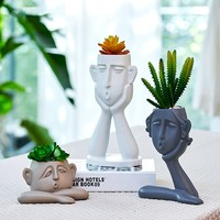 Nordic abstract face ornament vase Resin Home living room TV cabinet creative decoration vases New house wedding gift 3pcs/set