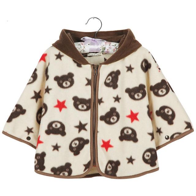 Высокое Качество Новорожденных девочек Cotton Bear Плащ мальчики Зима капюшоном Плащ марка Младенческая Baby Пиджаки Новорожденный Платки Куртка