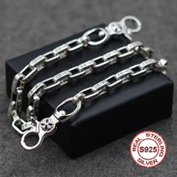 S925 Men's Sterling Silver Trousers Retro personality punk style Jewelry letters rough chain Girls package chain Send lover's