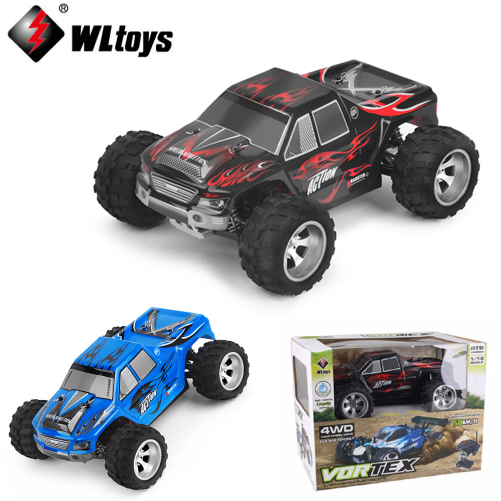 1 set Wltoys A979 1:18 Scale Toys 2.4G 4WD 50km/h RC Bigfoot rc car suvs climb a wall climbing professional racing car 1 set wltoys a969 1 18 scale toys 2 4g 4wd 50km h rc drift short course long distance control 4 wheel shock absorbe