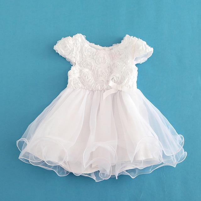 dc3cf6c96 Flores Vestido Da Menina Do Bebê Infantil Criança Verão de Manga Curta  Branco Organza Batismo Vestidos