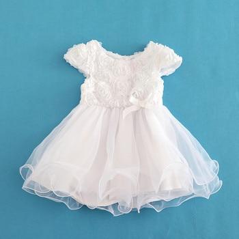 Flowers Short Sleeve White Baby Girl Dress Infant Toddler Summer Organza Christening Party Dresses Kids Girls