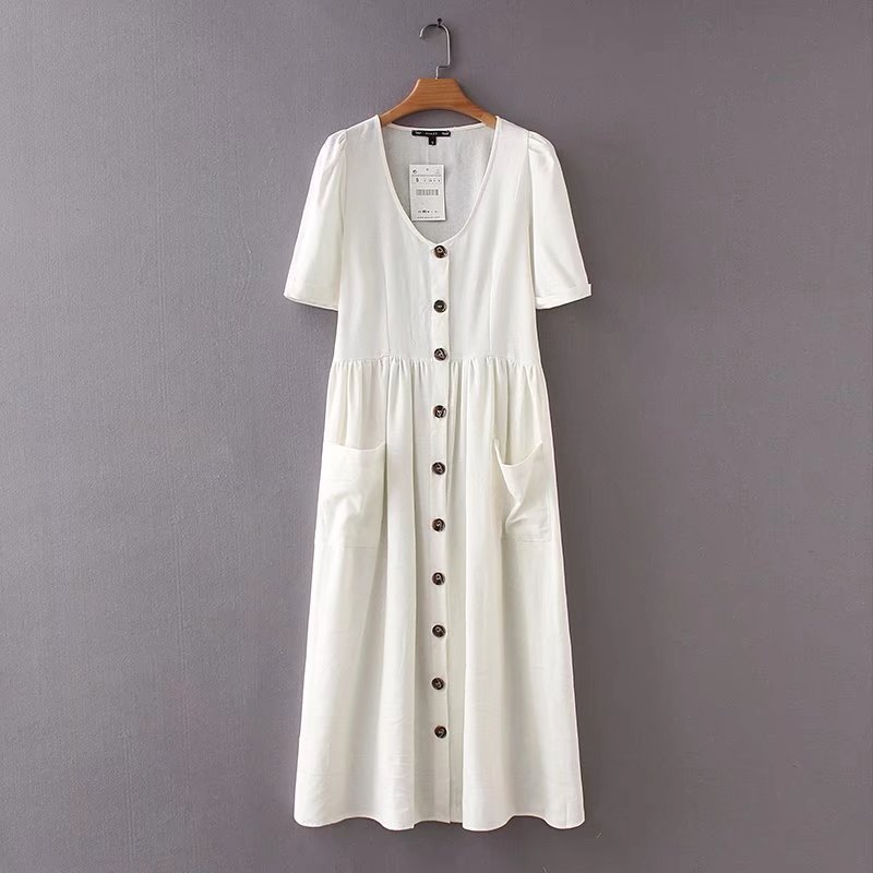 Spicy women's v-neck monochrome dress midi pockets buttons with short sleeves Pleated Women's casual branded chic dresses vesti