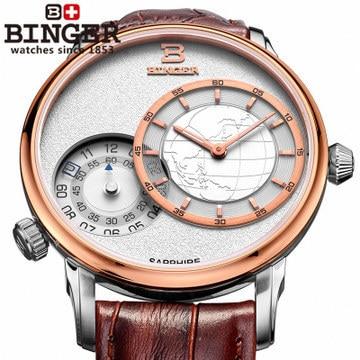 AAAA top quality digital deluxe boys Gents Quartz Watches GMT Brown Men's Leather Bracelets Binger Sports Wristwatch Two Zone