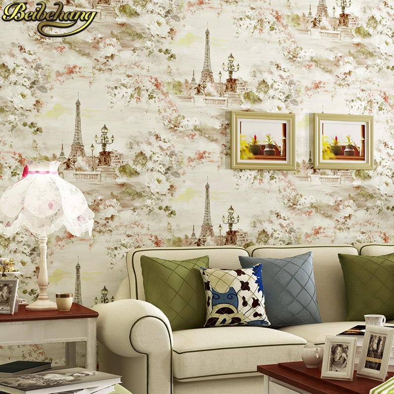 beibehang Vintage American Eiffel Tower Mural Wallpapers Roll Wall Paper home decor papel de parede 3d murals contact-paper beibehang luxury europe home decor thicken wallpaper 3d durable non woven wallpapers rural floral wall paper mural papel de