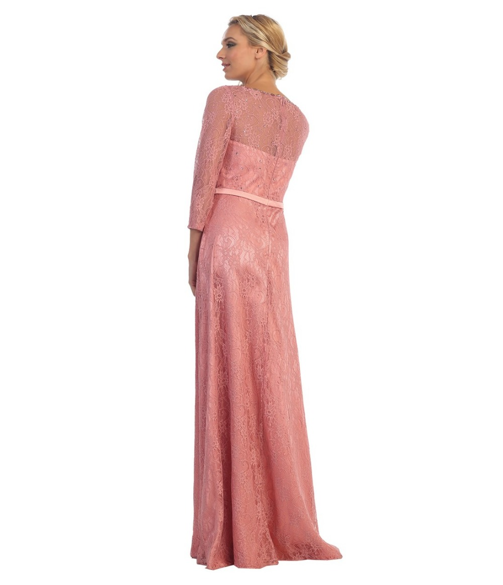 2017 rose pink long a line lace modest bridesmaid dresses with 34 2017 rose pink long a line lace modest bridesmaid dresses with 34 sleeves beaded floor length modest wedding party dresses in bridesmaid dresses from ombrellifo Image collections