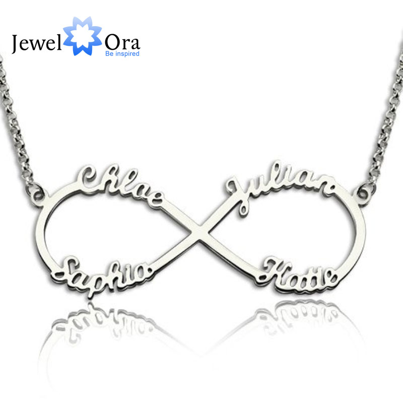 Us 29 99 Diy 4 Names Personalized Necklace 925 Sterling Silver Letter Necklaces Pendants Unique Birthday Gift Jewelora Ne101369 In Pendants From