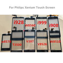 For Philips Xenium V387 w8560 i999 i908 w8510 v8526 t3500 i928 w6618 Glass Len Outter Digitizer Touch Panel + logo for philips