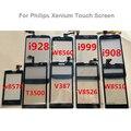 Para a philips xenium v387 w8560 i999 i908 w8510 v8526 t3500 i928 w6618 len vidro outter digitador touch panel + logo para philips